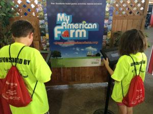 Kids Playing My American Farm Kiosks