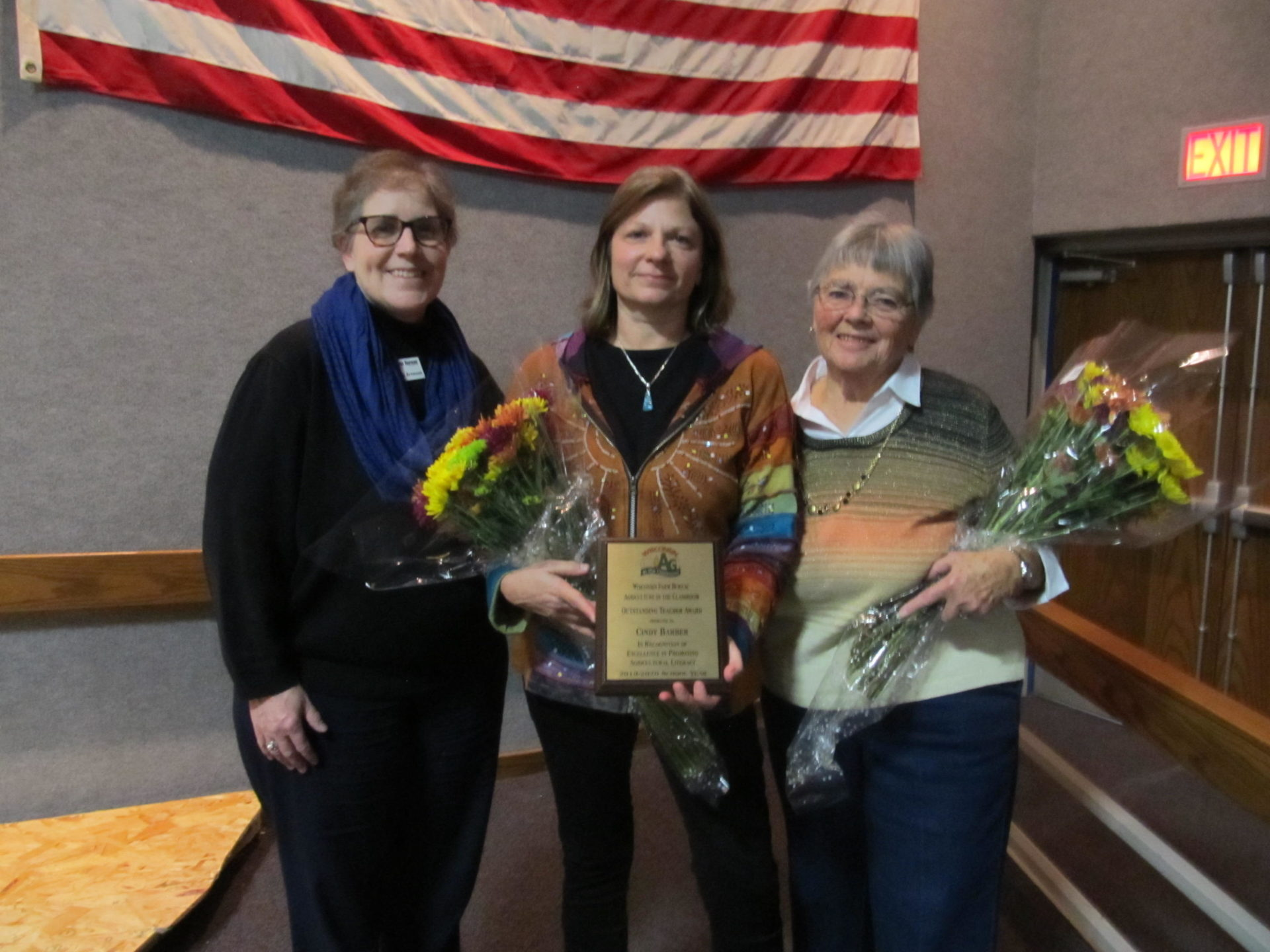 Cindy Barber (center) was selected as the 2019 Outstanding Teacher of the Year.